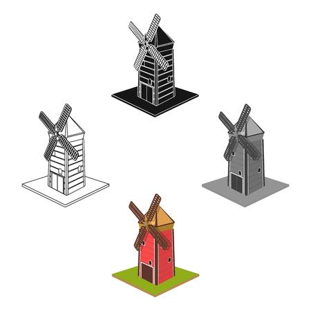 Windmill, single icon in cartoon,black style.Windmill vector symbol stock illustration web.