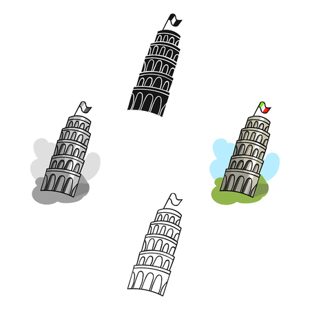 Tower of Pisa in Italy icon in cartoon,black style isolated on white background. Italy country symbol stock vector illustration. 矢量图像