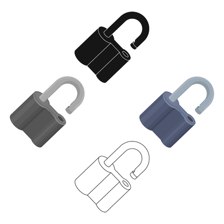 Padlock hacked. The challenge for the Pathfinder to solve the crime.Detective single icon in cartoon,black style vector symbol stock illustration. Illustration