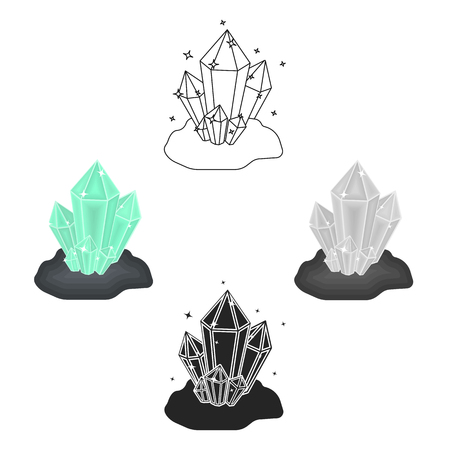 Crystals icon in cartoon,black style isolated on white background. Mine symbol stock vector illustration.