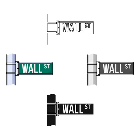 Wall Street sign icon in cartoon,black style isolated on white background. Money and finance symbol stock vector illustration.