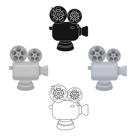 Silver camera with film.The award for the best filming of the movie.Movie awards single icon in cartoon,black style vector symbol stock illustration.