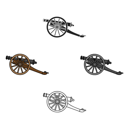 Cannon icon in cartoon,black style isolated on white background. Museum symbol stock vector illustration. Иллюстрация