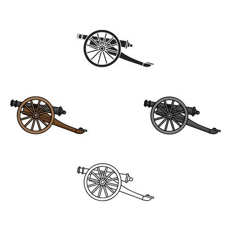 Icône de canon en dessin animé, style noir isolé sur fond blanc. Musée symbole illustration vectorielle stock. Vecteurs