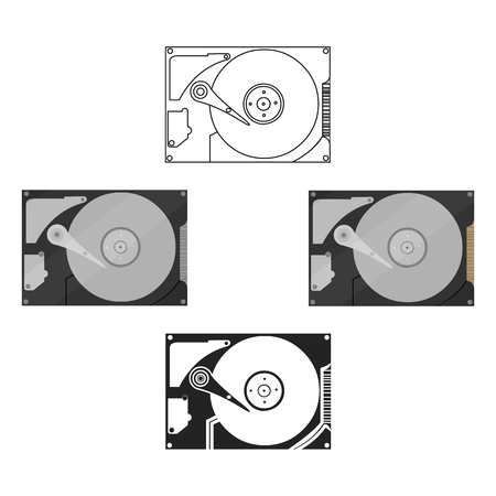 Hard disk icon in cartoon,black style isolated on white background. Personal computer symbol stock vector illustration.