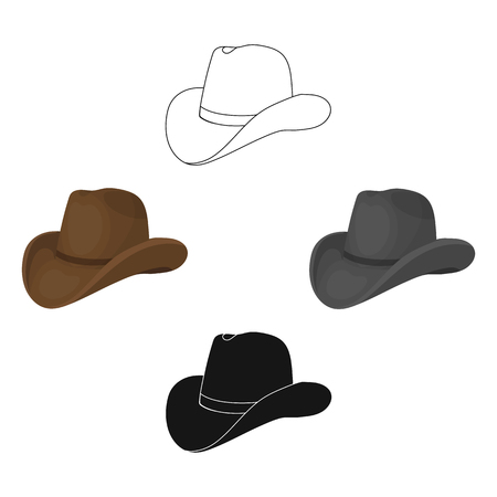 Cowboy hat icon in cartoon,black style isolated on white background. Rodeo symbol stock vector illustration.