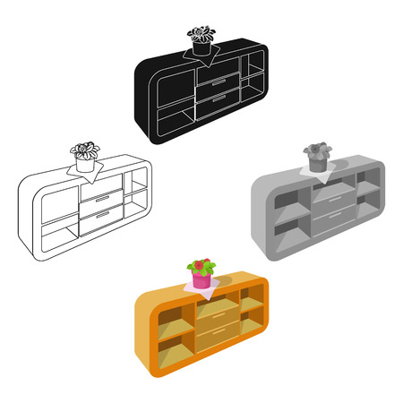 Chest, shelving with shelves and flower. Furniture and interior single icon in cartoon,black style Isometric vector symbol stock illustration web.