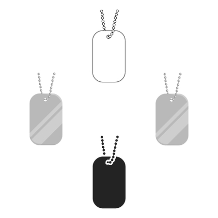 Metal tags hanging on a chain icon cartoon,black. Single weapon icon from the big ammunition, arms set.