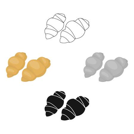 Icône de pâtes gnocchi en dessin animé, style noir isolé sur fond blanc. Types d'illustration vectorielle stock symbole de pâtes.