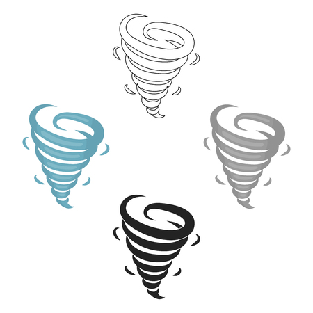 Tornado icon in cartoon,black style isolated on white background. Weather symbol stock vector illustration.