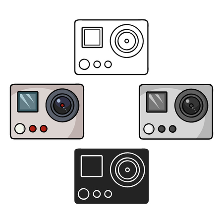 Action camera icon in cartoon,black style isolated on white background. Ski resort symbol stock vector illustration.