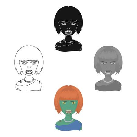 Woman, single icon in cartoon,black style.Woman, vector symbol stock illustration web.
