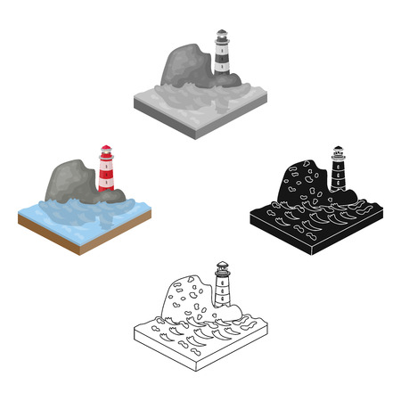 Mountains, lighthouse and Sea . Relief and mountains single icon in cartoon,black style isometric vector symbol stock illustration web.