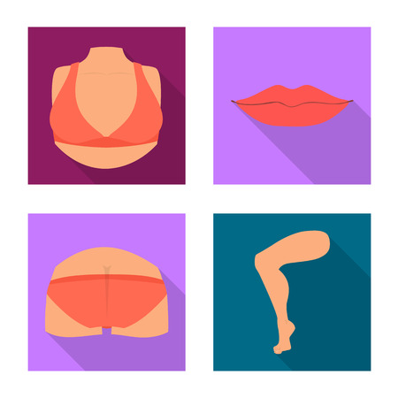 Vector design of body and part icon. Set of body and anatomy stock symbol for web. Ilustração