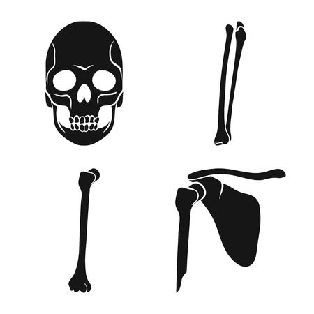 Vector design of biology and medical symbol. Set of biology and skeleton stock vector illustration. Illustration