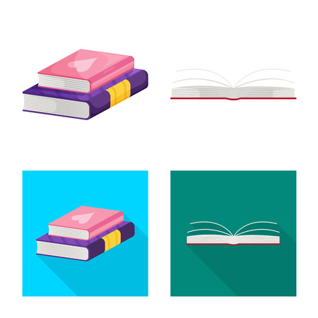 Vector design of training and cover logo. Collection of training and bookstore  stock vector illustration. Иллюстрация