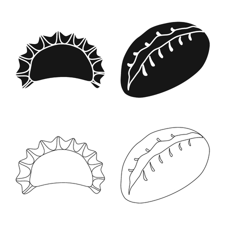 Isolated object of products  and cooking logo. Set of products  and appetizer stock vector illustration.