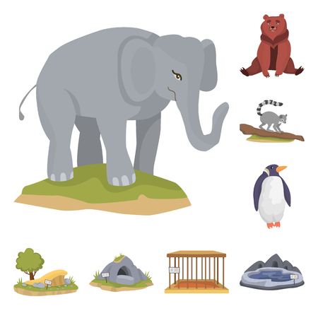 Isolated object of zoo  and park. Set of zoo  and animal stock symbol for web.  イラスト・ベクター素材
