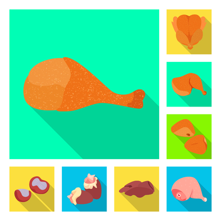 Vector illustration of product and poultry icon. Set of product and agriculture stock symbol for web.