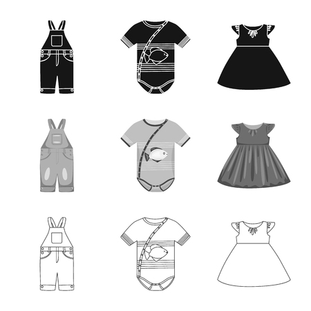 Isolated object of fashion and garment sign. Collection of fashion and cotton stock symbol for web. Illustration