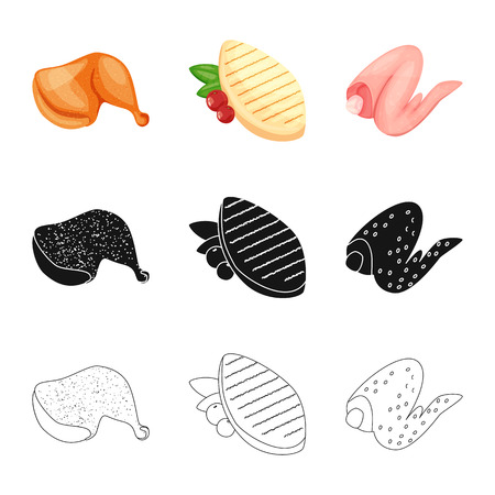 Isolated object of product and poultry. Set of product and agriculture vector icon for stock.