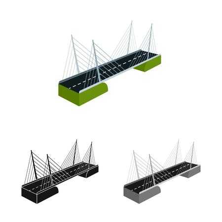 Vector illustration of bridge and construction icon. Set of bridge and suspended  vector icon for stock.