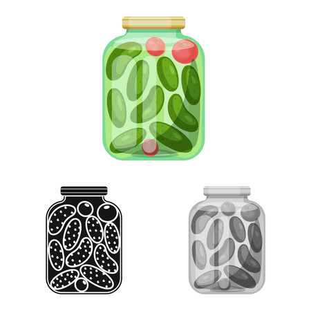 Isolated object of bank and cucumbers. Set of bank and salty   stock vector illustration.