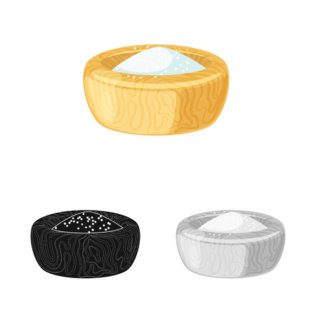 Vector design of bowl and salty. Collection of bowl and hill  vector icon for stock.  イラスト・ベクター素材