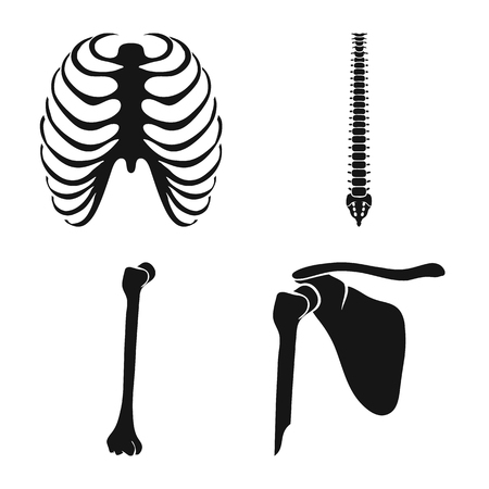 Vector design of biology and medical icon. Collection of biology and skeleton stock vector illustration.