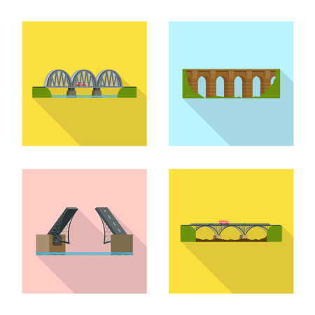 Isolated object of bridgework and bridge. Collection of bridgework and landmark stock vector illustration.