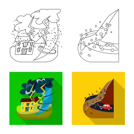 Isolated object of weather and distress symbol. Set of weather and crash vector icon for stock. Illustration