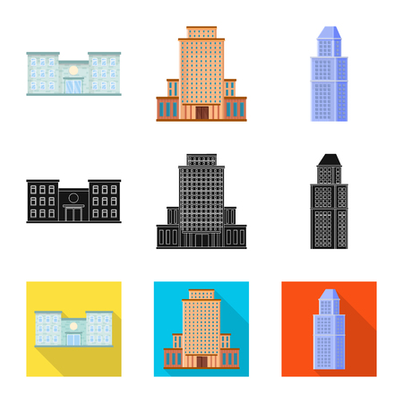 Vector design of municipal and center sign. Set of municipal and estate vector icon for stock.