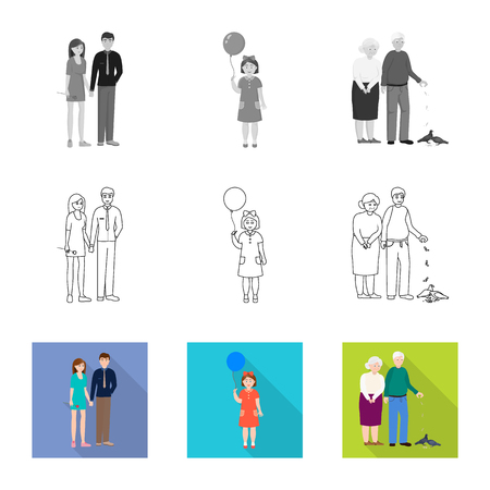 Vector illustration of character and avatar. Collection of character and portrait stock symbol for web.