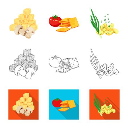 Isolated object of taste and seasonin sign. Set of taste and organic   stock vector illustration. Vettoriali