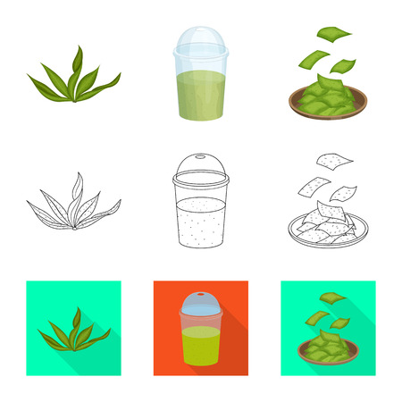 Vector illustration of protein and sea. Set of protein and natural stock symbol for web.