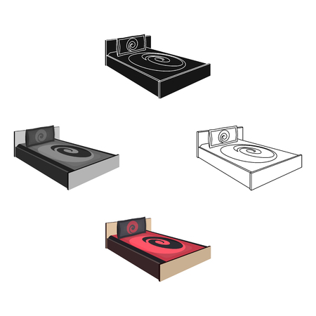 Bed with beautiful red patterns.Bed single icon in cartoon,black style vector symbol stock illustration.