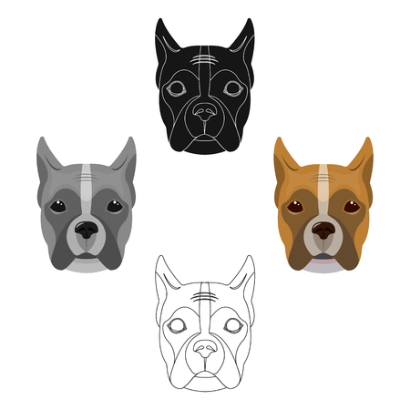 A dog, a breed of boxer.Muzzle of a boxer single icon in cartoon,black style vector symbol stock illustration web.