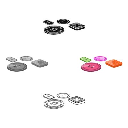 Mehrfarbige Knöpfe zum Nähen. Einzelne Ikone des Nähens und der Ausrüstung in der Karikatur, schwarzes Artvektorsymbolvorrat-Illustrationsnetz. Vektorgrafik