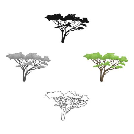 Albero nella savana Singola icona di safari africano nel fumetto, web nero dell'illustrazione delle azione di simbolo di vettore di stile.