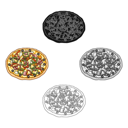 Pizza with meat, cheese and other filling. Different pizza single icon in cartoon,black style vector symbol stock illustration web.