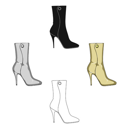 Demi tall womens boots high heel.Different shoes single icon in cartoon,black style vector symbol stock illustration.