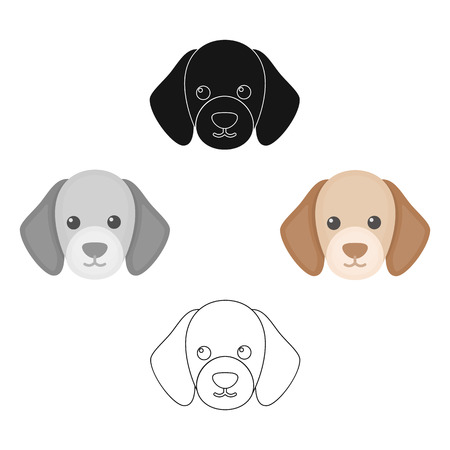 Dog muzzle vector icon in cartoon,black style for web Illustration