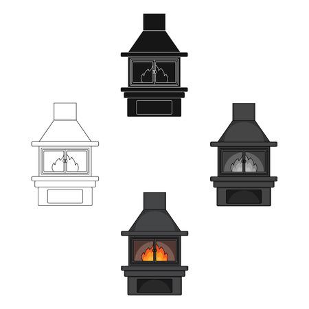 Fire, warmth and comfort. Fireplace single icon in cartoon,black style vector symbol stock illustration web. Foto de archivo - 124425855