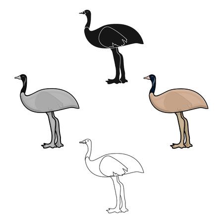 Emu icon in cartoon,black style isolated on white background. Australia symbol stock vector illustration.