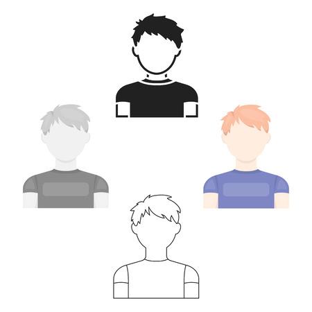 Redhead boy icon cartoon,black. Single avatar,peaople icon from the big avatar cartoon,black.
