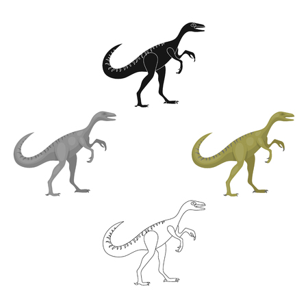 Dinosaur Gallimimus icon in cartoon,black style isolated on white background. Dinosaurs and prehistoric symbol stock vector illustration