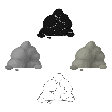 The small gray slide.A mountain that consists of a large number of small stones.Different mountains single icon in cartoon,black style vector symbol stock illustration. Ilustração