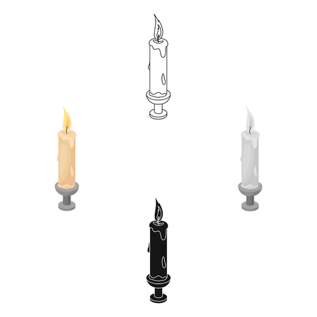 Candle icon in cartoon,black style isolated on white background. Funeral ceremony symbol stock vector illustration.