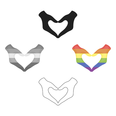 Hands icon cartoon,black. Single gay icon from the big minority, homosexual cartoon,black.