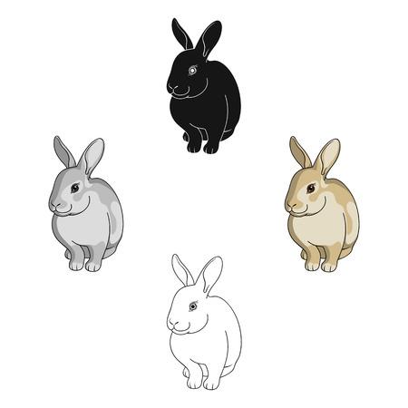 Gray rabbit.Animals single icon in cartoon,black style vector symbol stock illustration web.